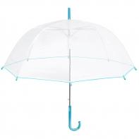 Głęboka przezroczysta parasolka, niebieska lamówka