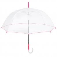 Głęboka przezroczysta parasolka, różowa lamówka