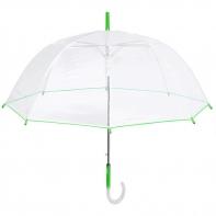 Głęboka przezroczysta parasolka, zielona lamówka