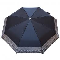 Satynowa automatyczna parasolka damska marki Parasol, biały ornament