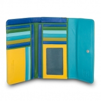 Skórzany duży portfel damski marki DuDu®, żółty + zielony, niebieski