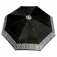 Satynowa automatyczna parasolka damska marki Parasol, biały labirynt