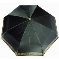 Satynowa automatyczna parasolka damska marki Parasol, mały złoty labirynt