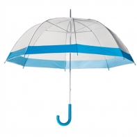 Damska przezroczysta parasolka damska, niebieska lamówka