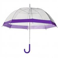 Damska przezroczysta parasolka damska, fioletowa lamówka