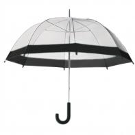 Damska przezroczysta parasolka damska, czarna lamówka
