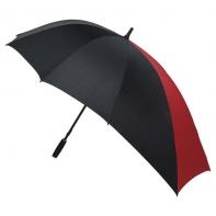 Duża parasolka wydłużona z jednego boku, czarno-czerwona