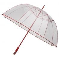 Duża przezroczysta parasolka FALCONE z czerwonym stelażem