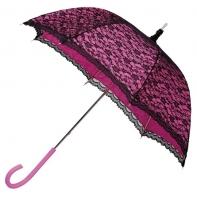 Romantyczna koronkowa parasolka w stylu retro różowo - czarna