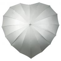 Parasolka damska w kształcie serca srebrna