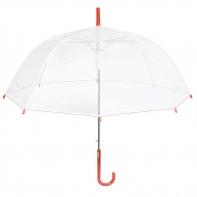 Głęboka przezroczysta parasolka, pomarańczowa lamówka