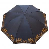 Satynowa automatyczna parasolka damska marki Parasol, brązowe listki