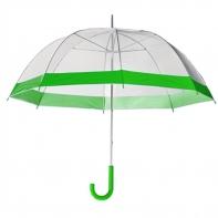 Damska przezroczysta parasolka damska, zielona lamówka