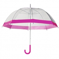 Głęboka przezroczysta parasolka damska, różowa lamówka