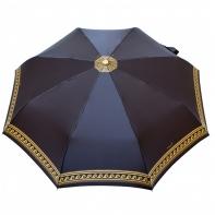 Satynowa automatyczna parasolka damska marki Parasol, złoty ornament