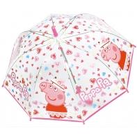 Dziecięca przezroczysta głęboka parasolka świnka Peppa, różowa