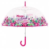 Wiosenna głęboka przezroczysta parasolka, różowa