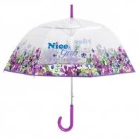 Wiosenna głęboka przezroczysta parasolka, fioletowa