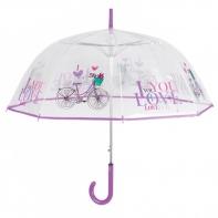 Głęboka przezroczysta parasolka z rowerem, fioletowa