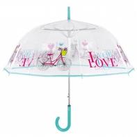 Głęboka przezroczysta parasolka z rowerem, niebieska