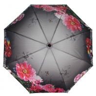 Parasolka damska Blue Rain, pełny automat, kwiaty + motyle