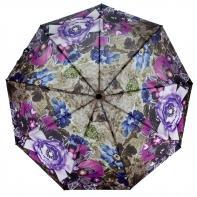 Parasolka damska Blue Rain, pełny automat, fioletowe kwiaty