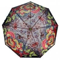 Parasolka damska Blue Rain, pełny automat, kolorowe kwiaty