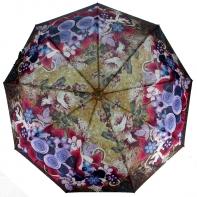 Parasolka damska Blue Rain, pełny automat, różowo-fioletowe kwiaty