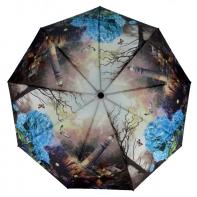 Parasolka damska Blue Rain, pełny automat, krajobraz i niebieski kwiat