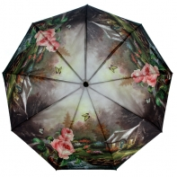 Parasolka damska Blue Rain, pełny automat, krajobraz i róże