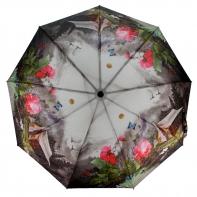Parasolka damska Blue Rain, pełny automat, krajobraz i peonie