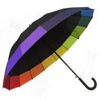 Automatyczny duży parasol czarny z lamówką TĘCZA, 16 brytów