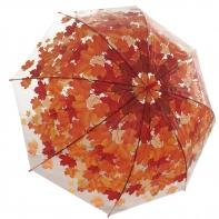 Jesienna przezroczysta parasolka w czerwone liście