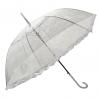 Głęboka przezroczysta parasolka damska z falbanką, koronka