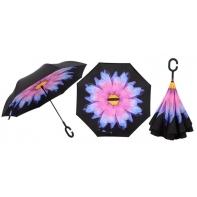 """Parasol odwrócony """"Revers"""" z kwiatem"""
