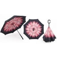 """Parasol odwrócony """"Revers"""" z różowym kwiatem"""