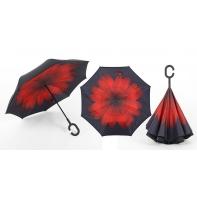 """Parasol odwrócony """"Revers"""" z czerwonym kwiatem"""