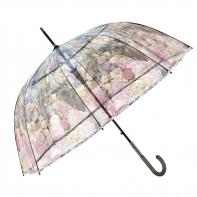 Głęboka przezroczysta parasolka przepiękny kwiatowy wzór