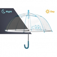 Dziecięca głęboka parasolka z odblaskową lamówką, niebieska