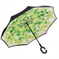 """Parasol odwrócony """"Revers"""" w zielone liście"""