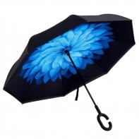 """Parasol odwrócony """"Revers"""" z niebieskim kwiatem"""