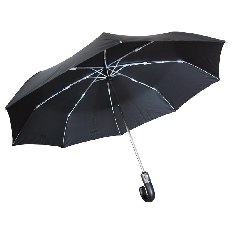 0726acce0d0a3 Automatyczny parasol męski Wittchen ze skórzaną rączką, czarny