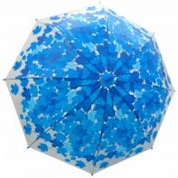 Jesienna przezroczysta parasolka w niebieskie liście