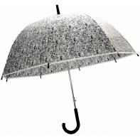 Głęboka przezroczysta automatyczna parasolka w czarne serduszka