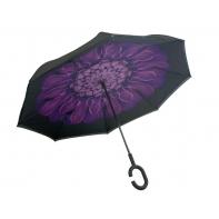"""Parasol odwrócony """"Revers"""" z fioletowym kwiatem"""