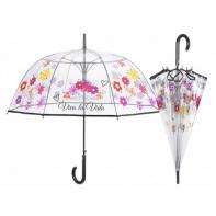 Głęboka przezroczysta parasolka w kwiatki