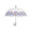 Przezroczysta, głęboka parasolka Perletti w kwiatki, fioletowa