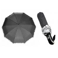 Mocna automatyczna parasolka damska czarna w groszki z falbanką