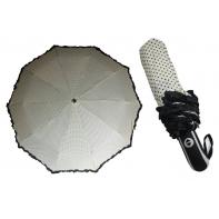 Mocna automatyczna parasolka damska ecru w groszki z falbanką