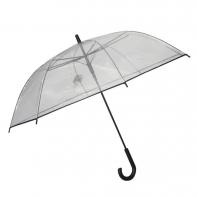 Bardzo duża XL automatyczna parasolka przezroczysta z czarnymi dodatkami